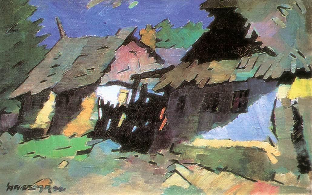 Houses at Felsobanya 1941   Oszkar Nagy   Oil Painting