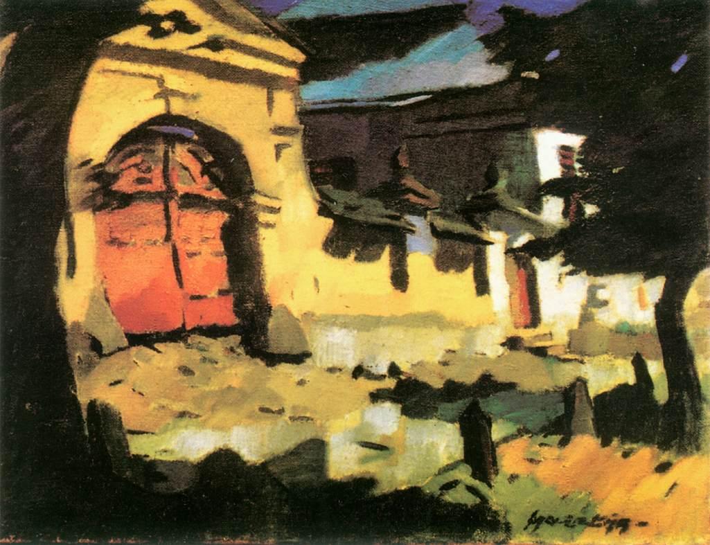 Gate at Felsobanya 1930   Oszkar Nagy   Oil Painting