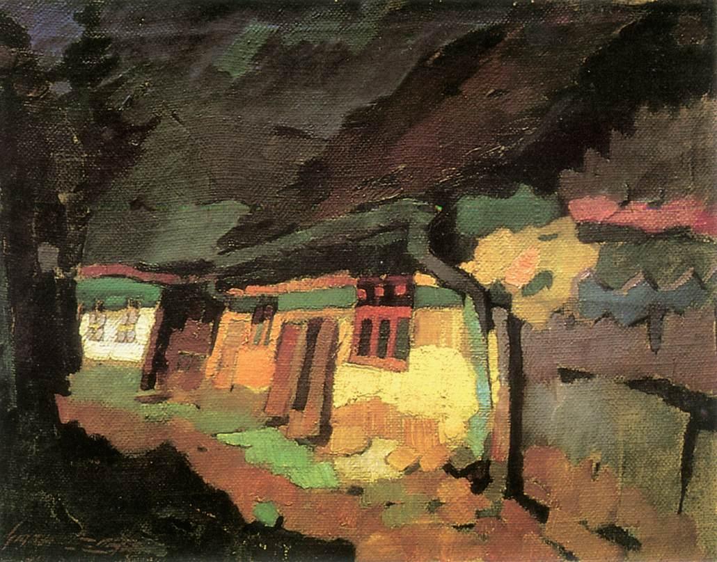 Yellow House 1933   Oszkar Nagy   Oil Painting