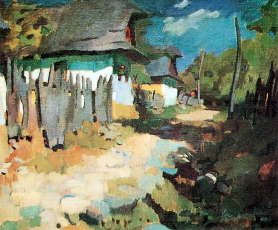 Village Street 1930   Oszkar Nagy   Oil Painting