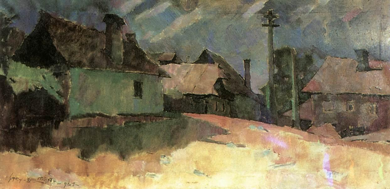 View of Nagybanya 1961   Oszkar Nagy   Oil Painting