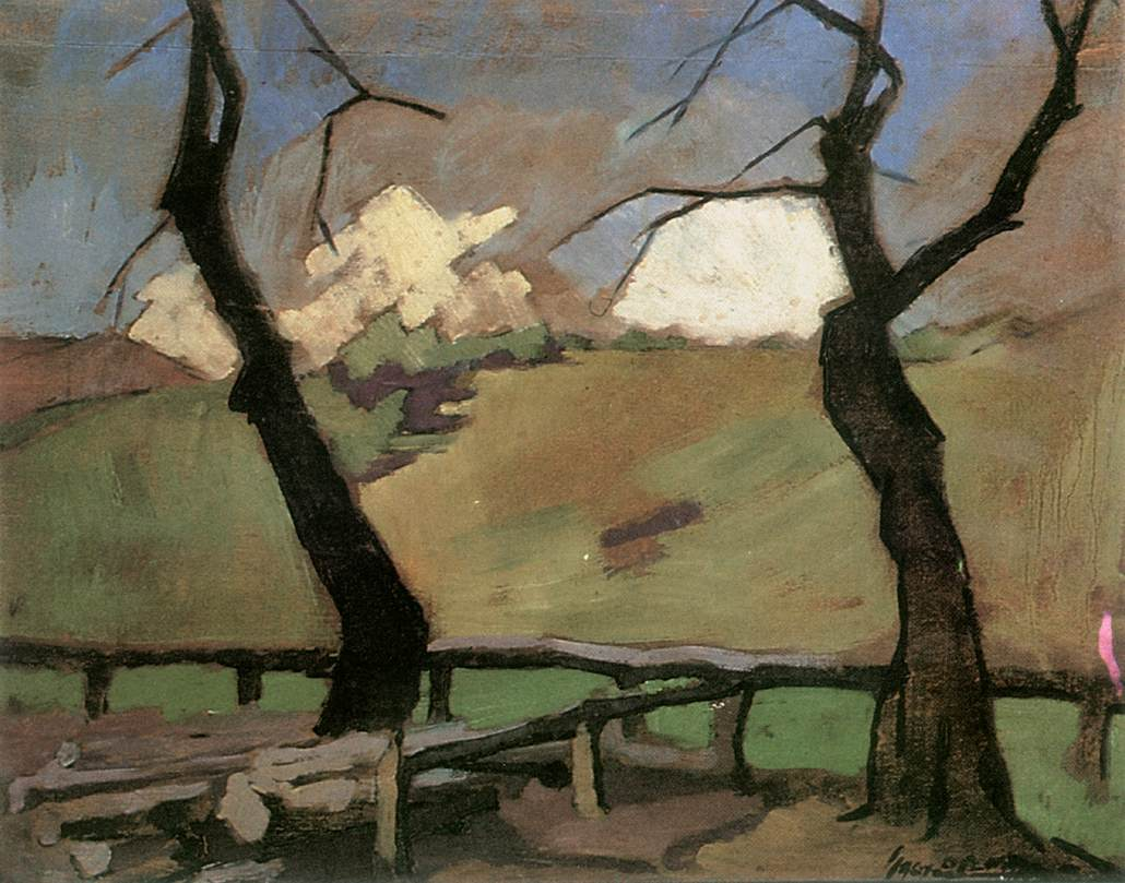 Two Trees 1928   Oszkar Nagy   Oil Painting