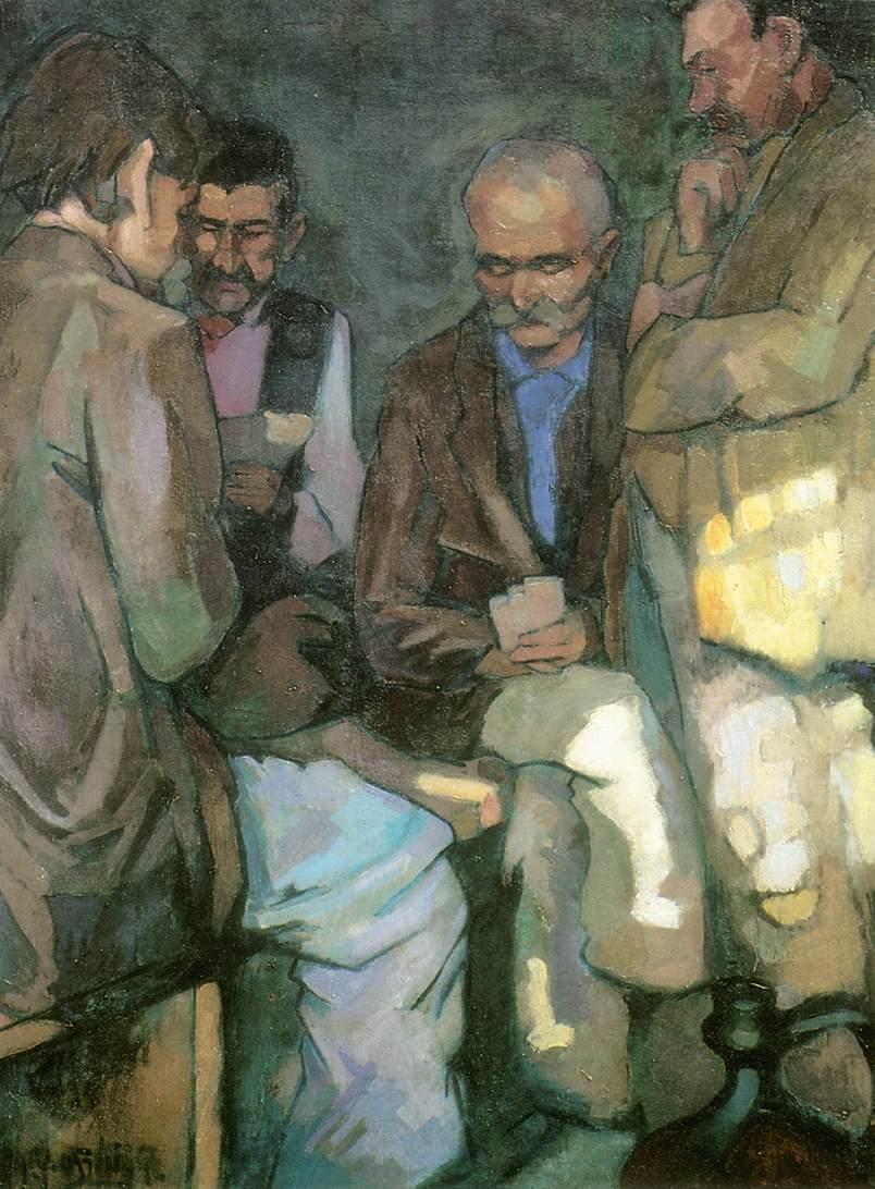 The Card Players 1924   Oszkar Nagy   Oil Painting