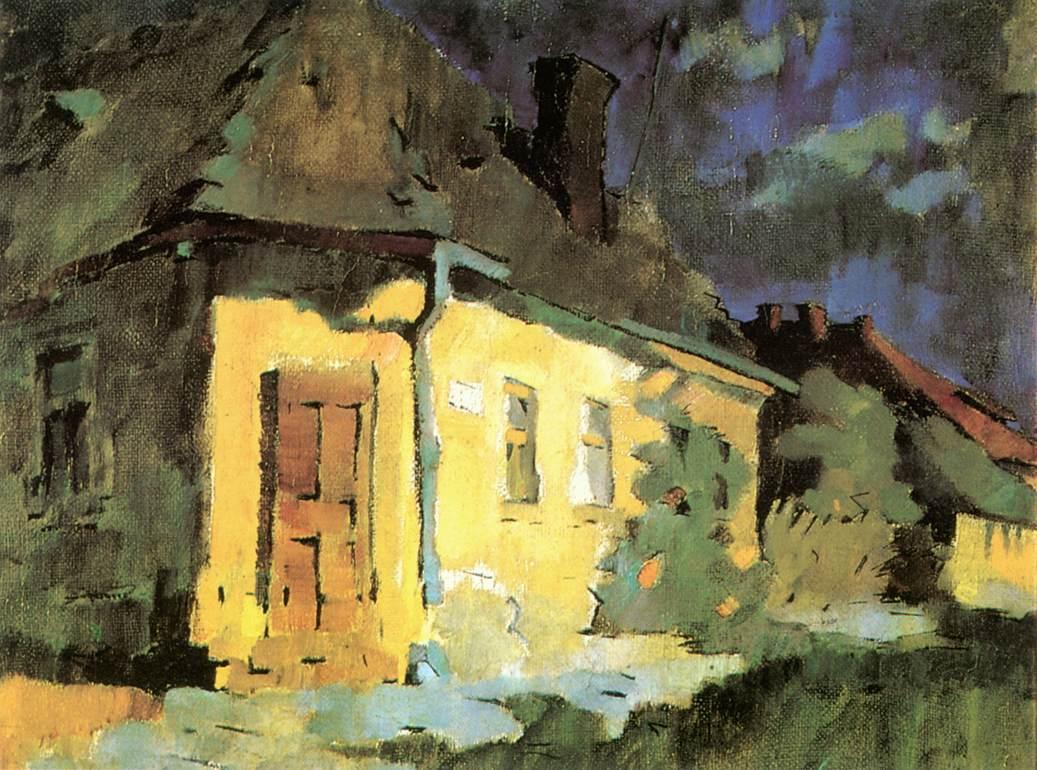 Street Corner 1950   Oszkar Nagy   Oil Painting