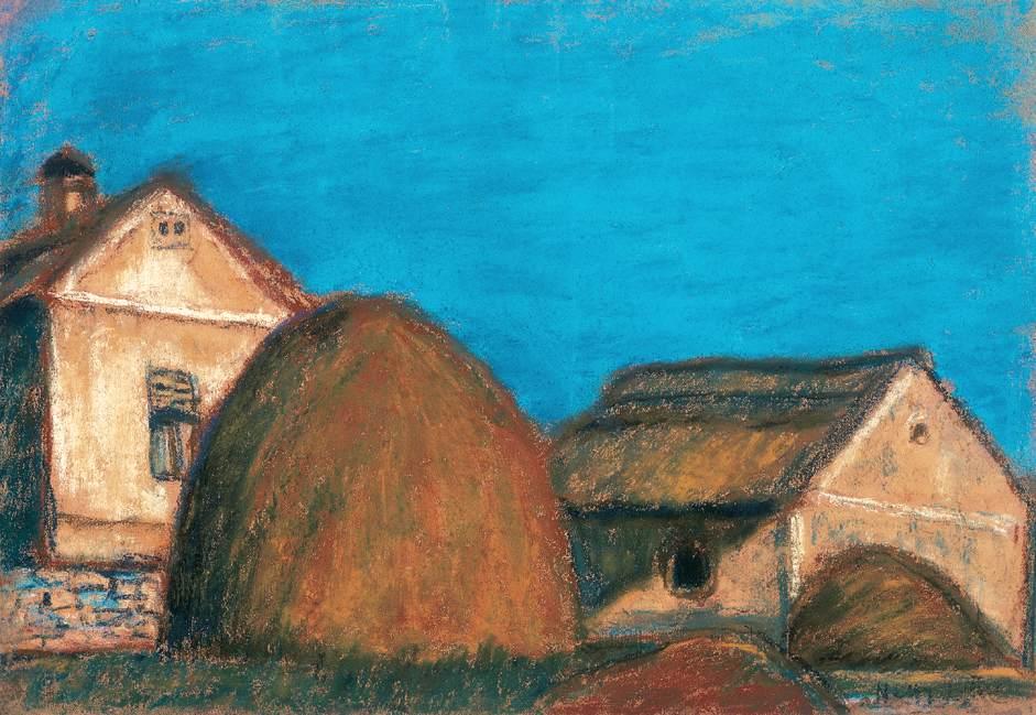 Haystacks with House | Istvan Nagy | Oil Painting