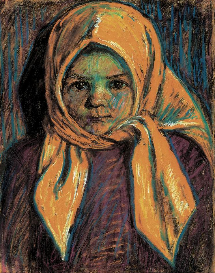 Girl with Yelloow Scarf 1917 | Istvan Nagy | Oil Painting