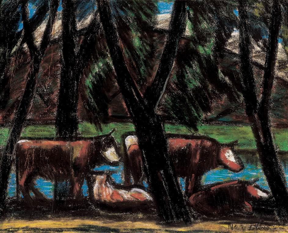 Cows amidst Trees | Istvan Nagy | Oil Painting