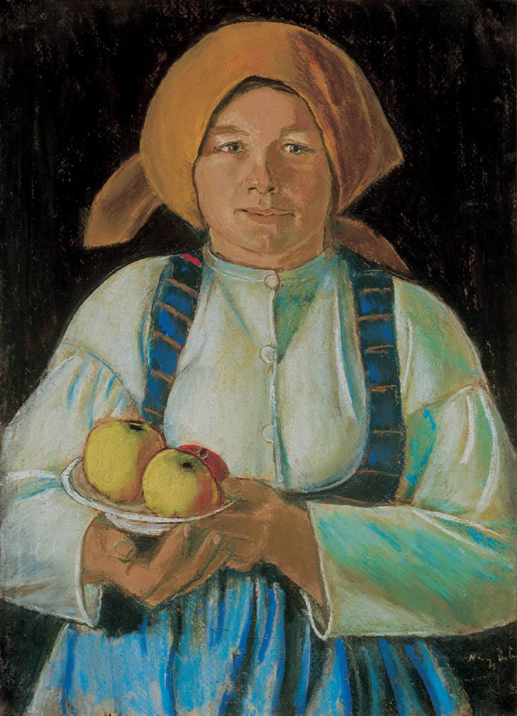 Young Woman Holding Apples 1934 | Istvan Nagy | Oil Painting