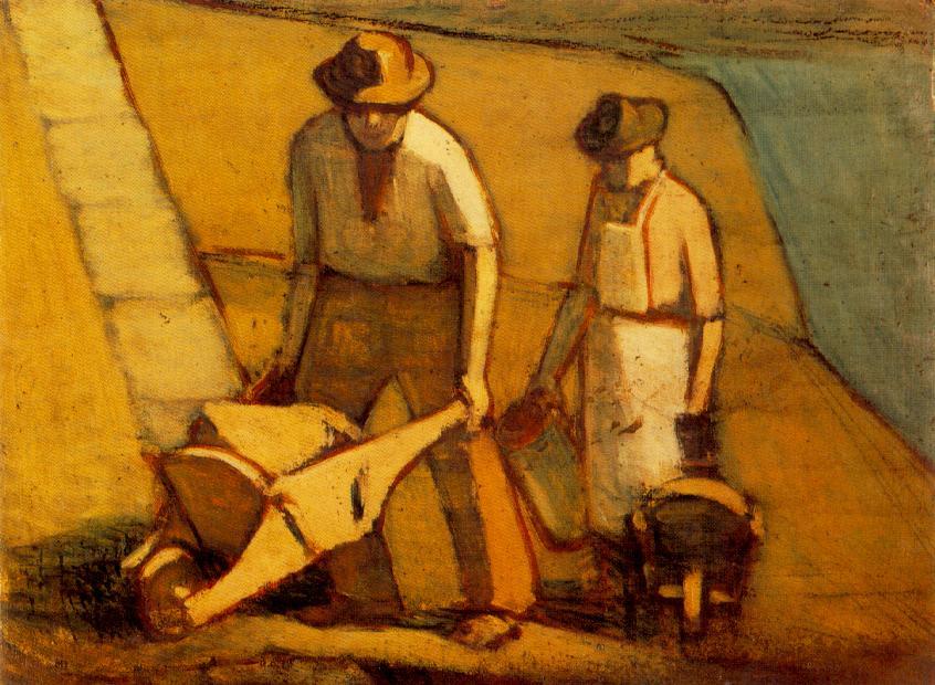 Navvies beginning of 1910s | Janos Balogh Nagy | Oil Painting