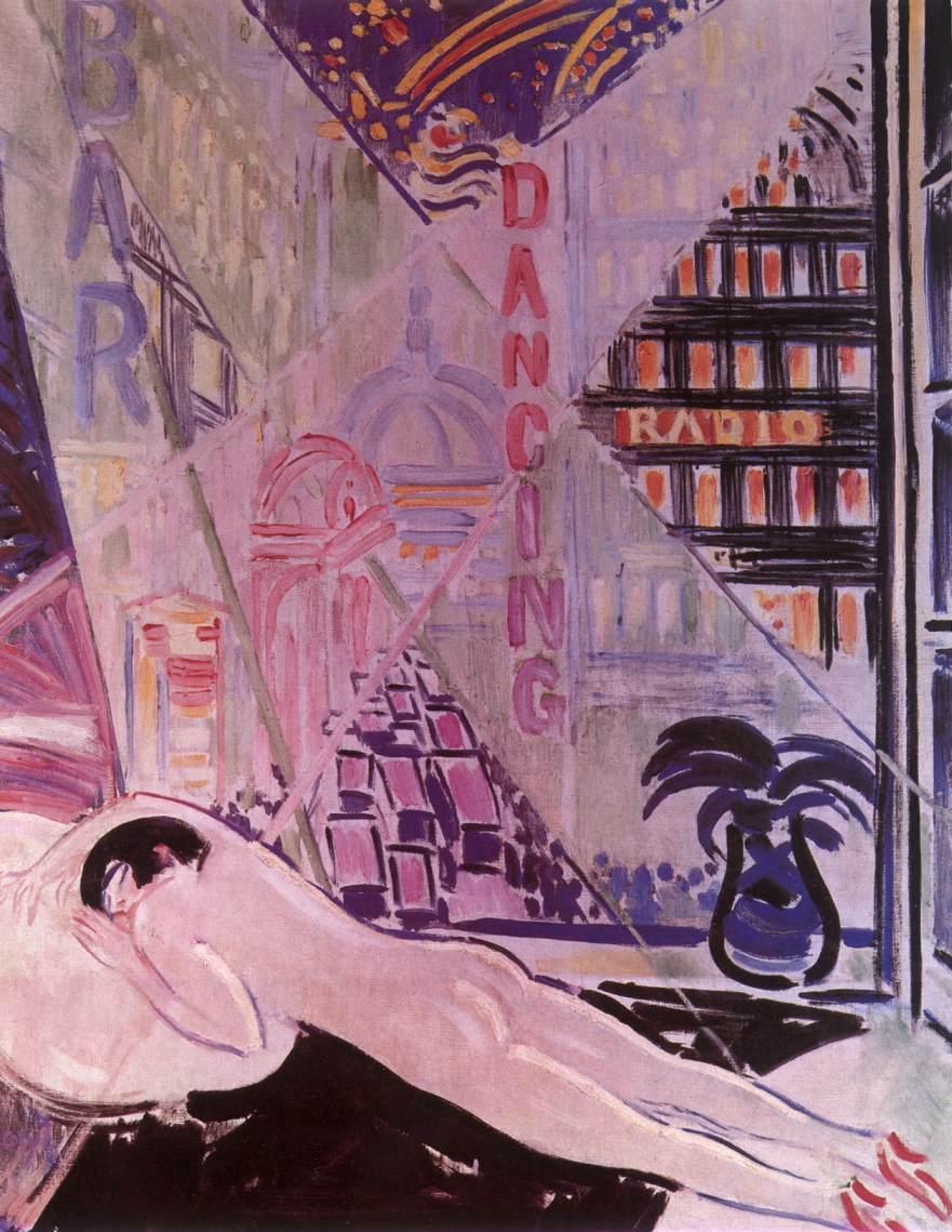 Lights of a Big City 1930   Janos Vaszary   Oil Painting