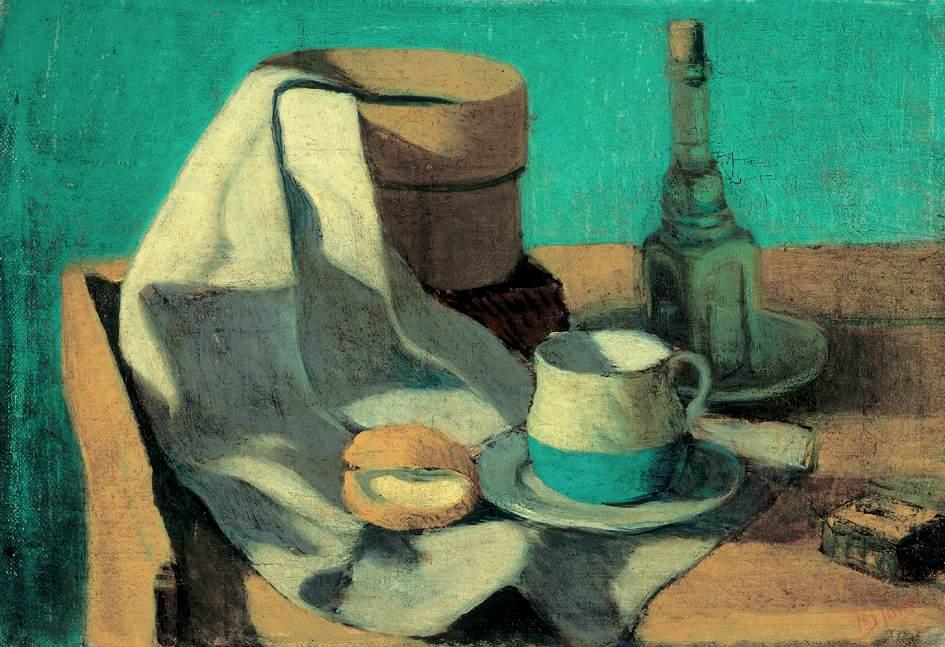 Still life with Sieve  Bun and Mug | Janos Balogh Nagy | Oil Painting