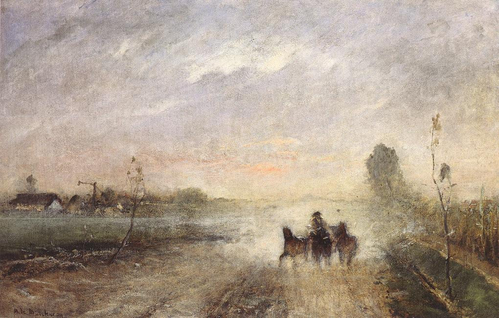 Dusty Country Road I 1874   Mihaly Munkacsy   Oil Painting