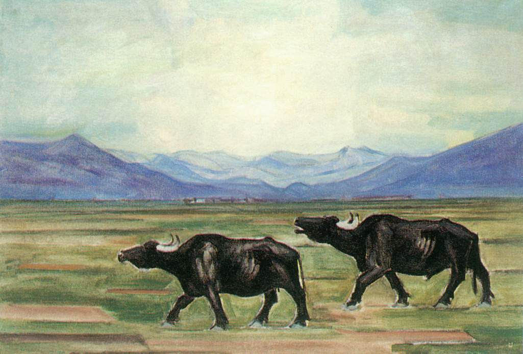 Buffaloes 1929   Hugo Mund   Oil Painting