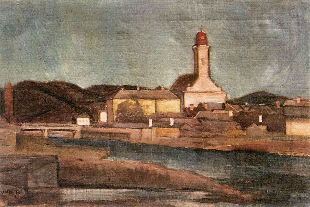View of Nagybanya from the Brook Zazar 1920   Hugo Mund   Oil Painting