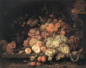 Fruit Still Life With Squirrel And Goldfinch | Abraham Mignon | Oil Painting
