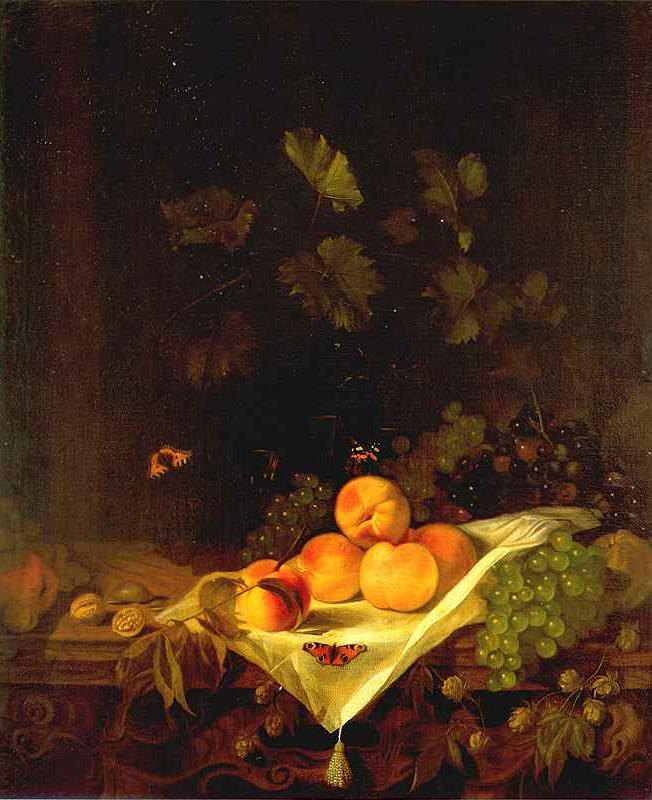 Still Life With Peaches And Grapes C 1680 | Abraham Van Calraet | Oil Painting