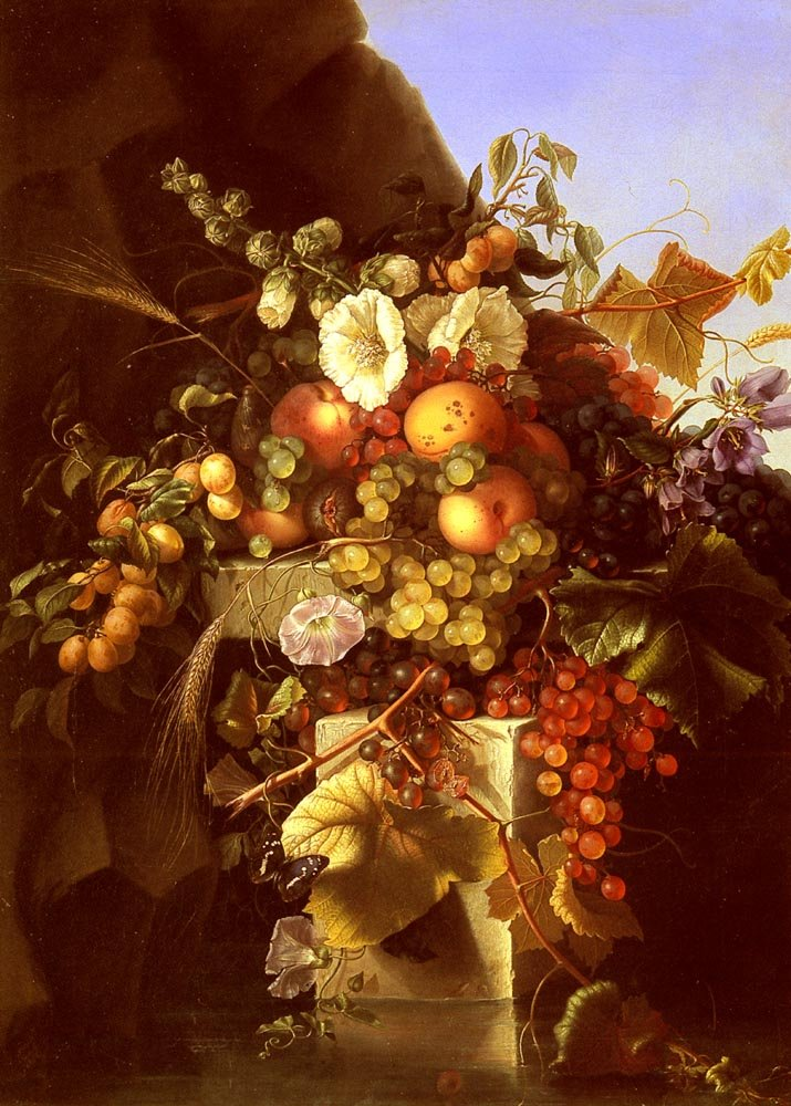 Still Life With Grapes Peaches and Flowers | Adelheid Dietrich | Oil Painting
