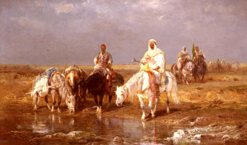 Arabs Watering Their horses | Adolf Schreyer | Oil Painting