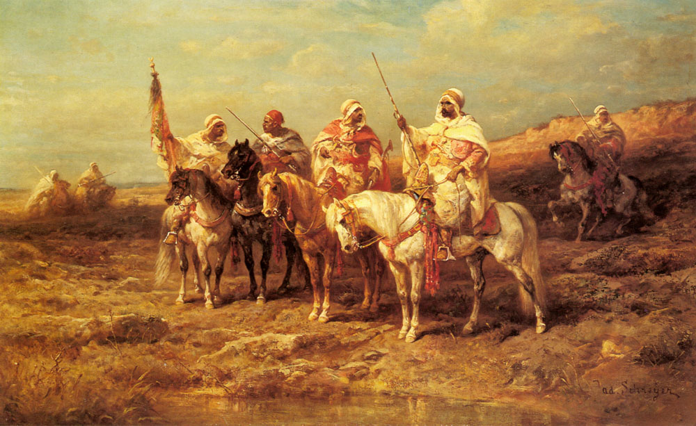 Arab Horseman By A watering Hole | Adolf Schreyer | Oil Painting