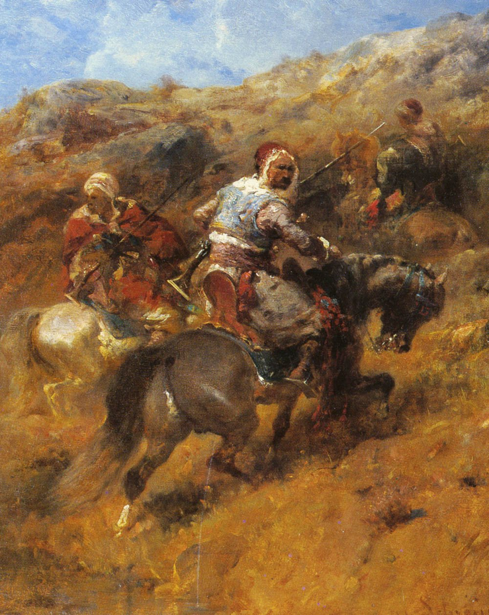 Arab Warriors On A Hillside | Adolf Schreyer | Oil Painting