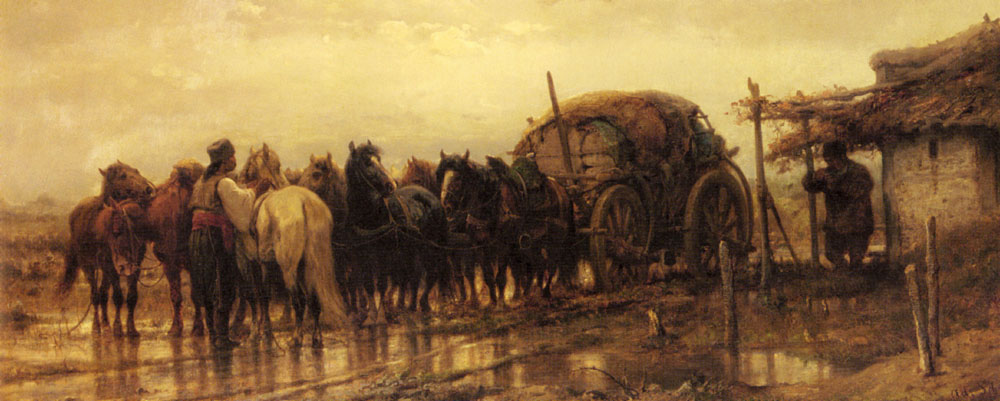 Hitching Horses To The Wagon | Adolf Schreyer | Oil Painting