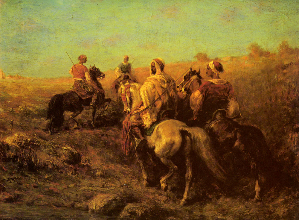 Arabian Horsemen Near A Watering Place | Adolf Schreyer | Oil Painting