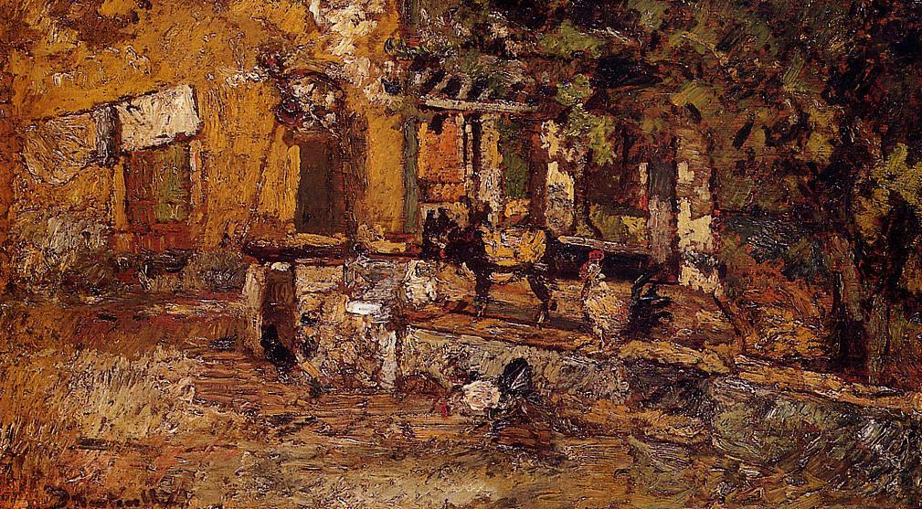 Farmyard with Donkeys and Roosters 1880-1882 | Adolphe-Joseph-Thomas Monticelli | Oil Painting