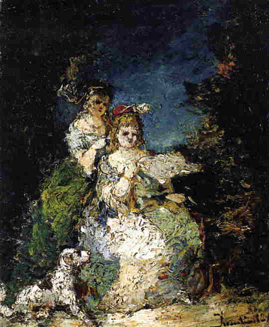 Young Girls and Dog in a Park | Adolphe-Joseph-Thomas Monticelli | Oil Painting