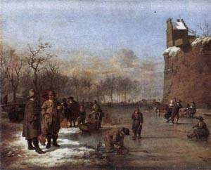 Amusement on the Ice 1669 | Adriaen Van De Velde | Oil Painting