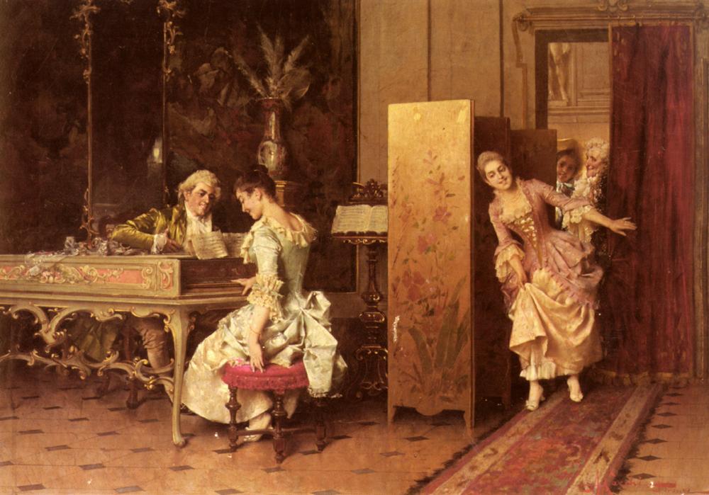 Signorina E Cavaliere   Adriano Cecchi   Oil Painting