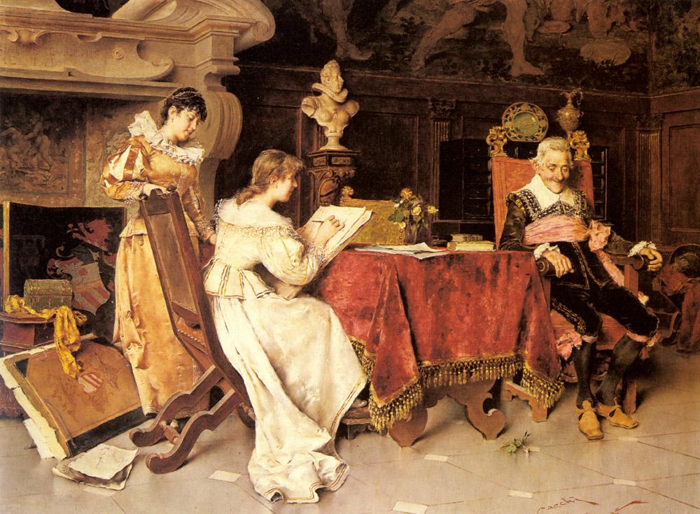 The Art Lesson   Adriano Cecchi   Oil Painting