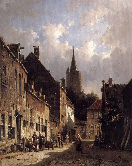A Dutch Street Scene | Adrianus Eversen | Oil Painting
