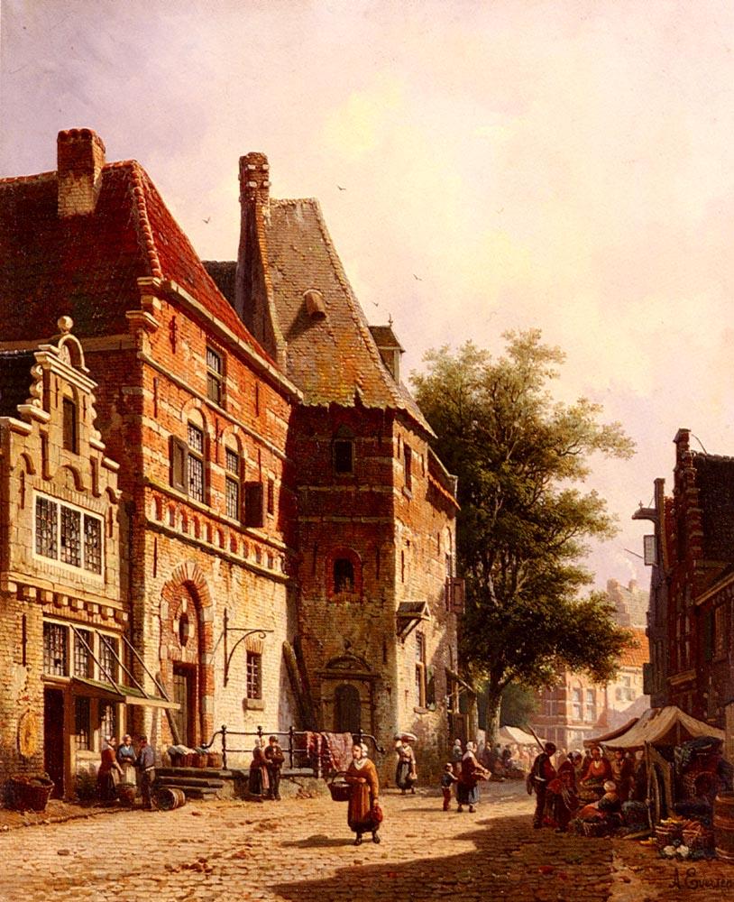 A Sunlit Street On Market Day | Adrianus Eversen | Oil Painting