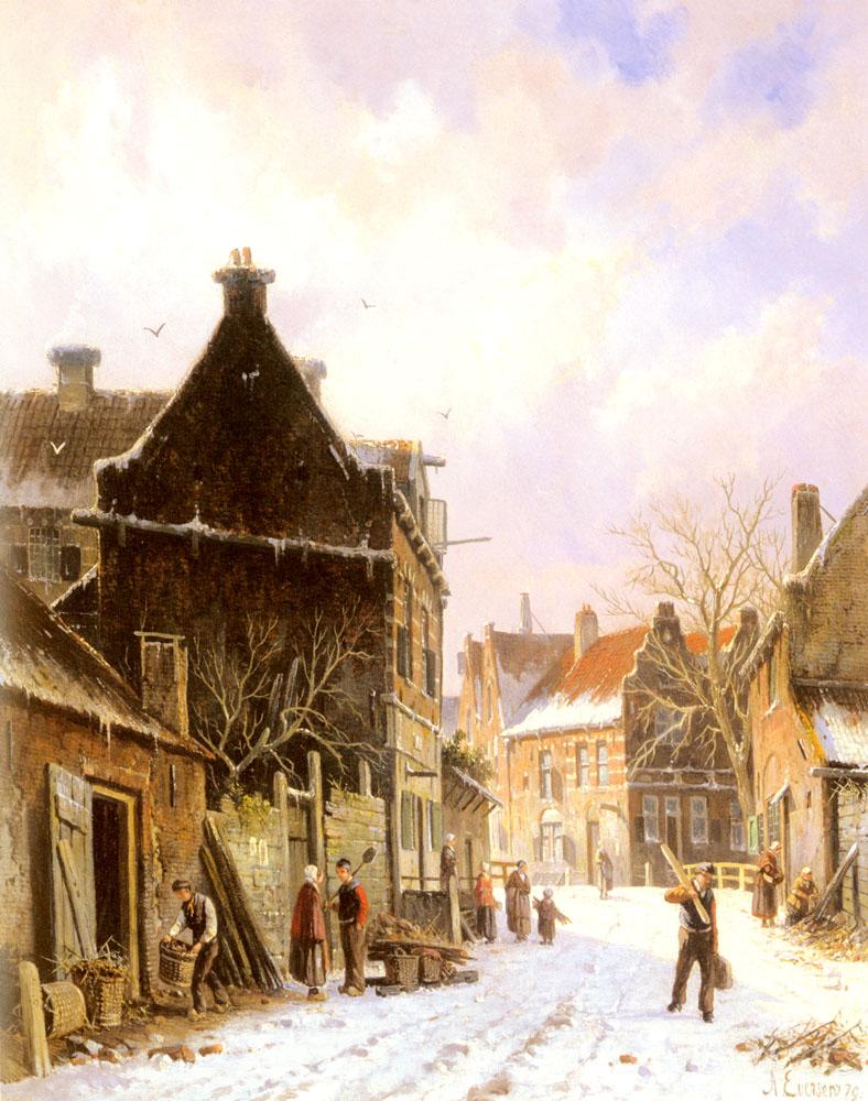 A Village Street Scene In Winter | Adrianus Eversen | Oil Painting