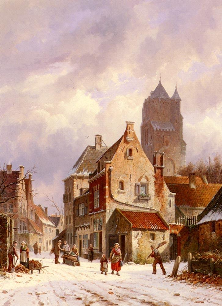 A Winter Street Scene | Adrianus Eversen | Oil Painting