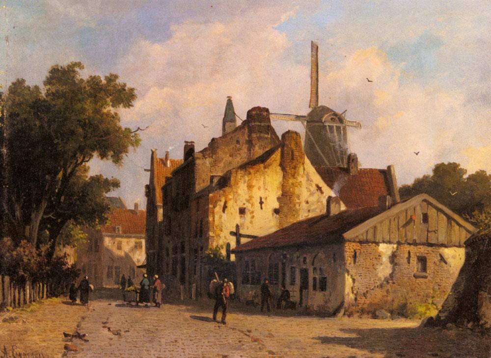 Village Scene With A Windmill | Adrianus Eversen | Oil Painting