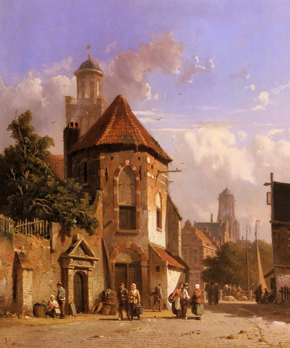 View Of A Dutch Street | Adrianus Eversen | Oil Painting
