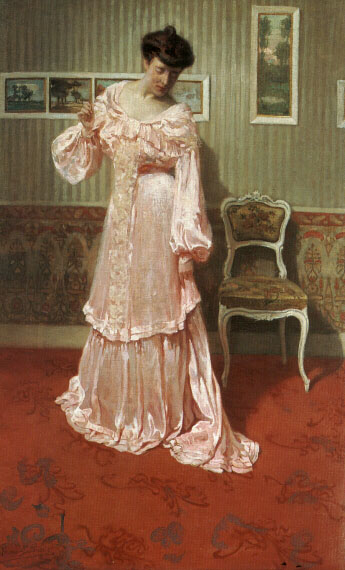 A Lady in a Pink Dress | Aime Stevens | Oil Painting