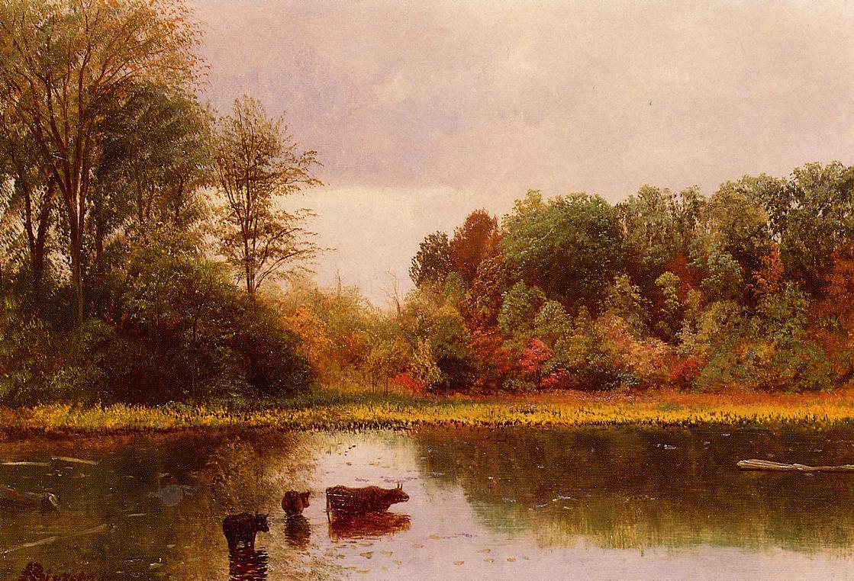 Cows Watering in a Landscape | Albert Bierstadt | Oil Painting