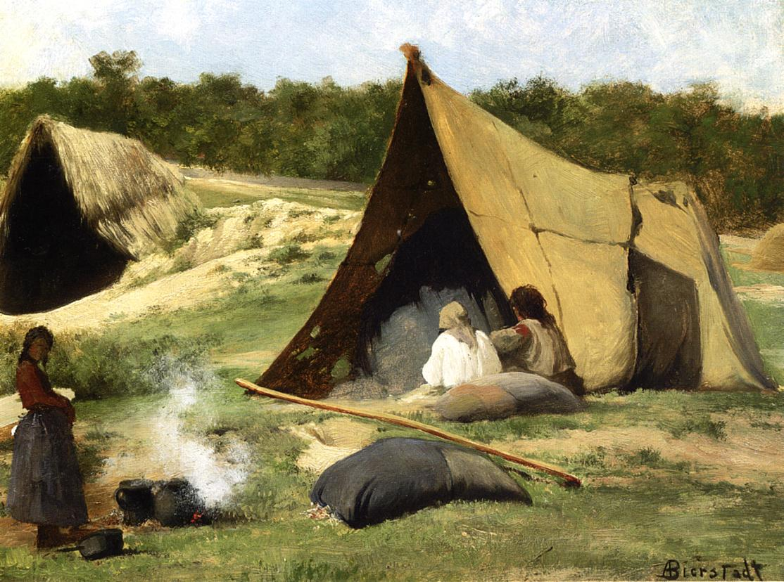 Indian Camp 1858-1859 | Albert Bierstadt | Oil Painting