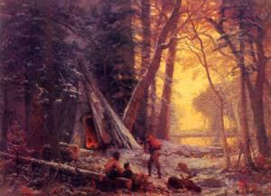 Moose Hunters Camp 1880 | Albert Bierstadt | Oil Painting