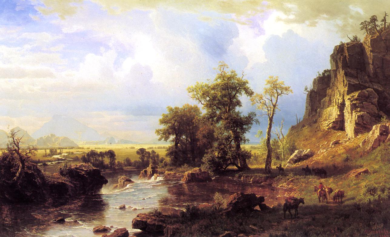 North Fort of the Platte River Nebraska 1863   Albert Bierstadt   Oil Painting