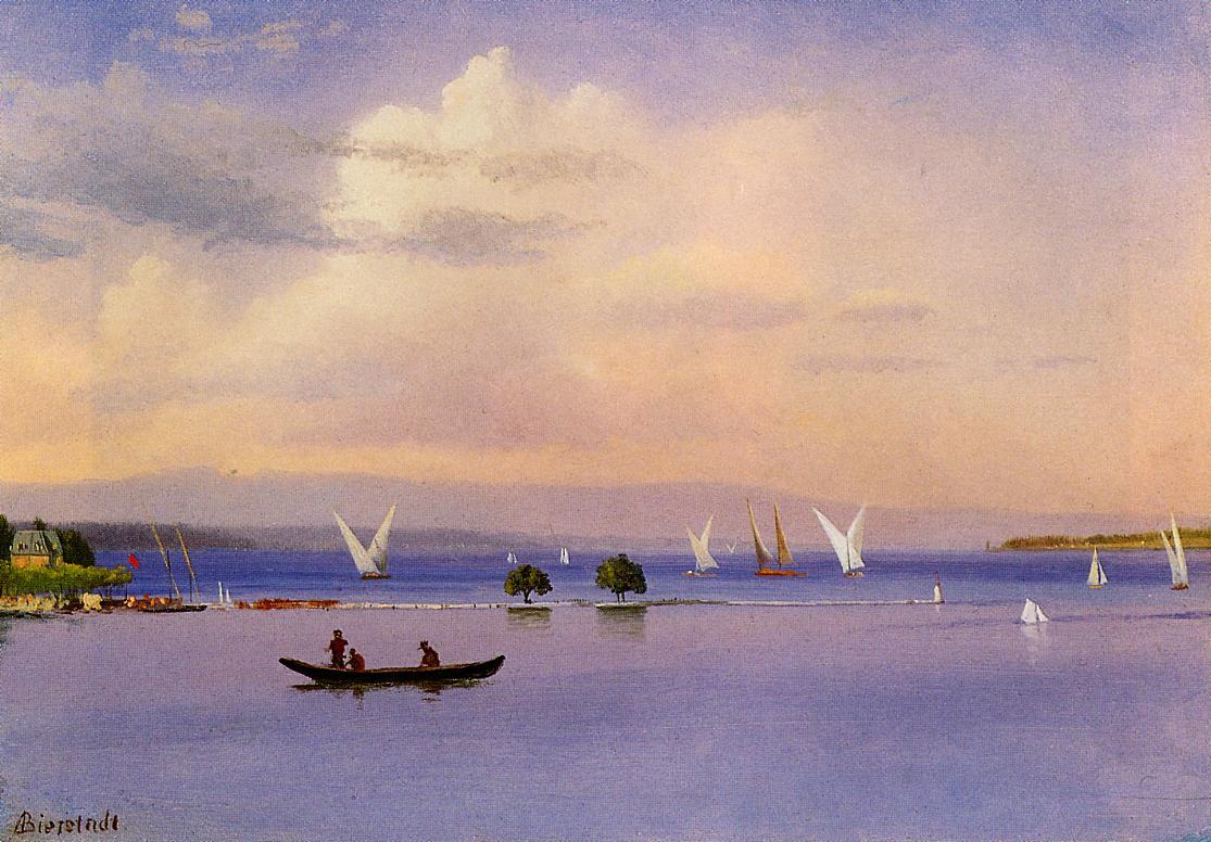 On the Lake   Albert Bierstadt   Oil Painting