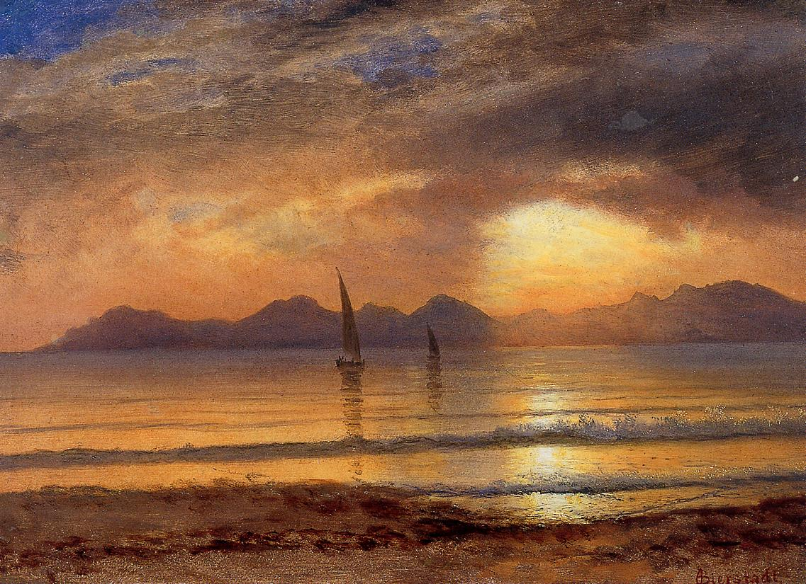Sunset over a Mountain Lake | Albert Bierstadt | Oil Painting