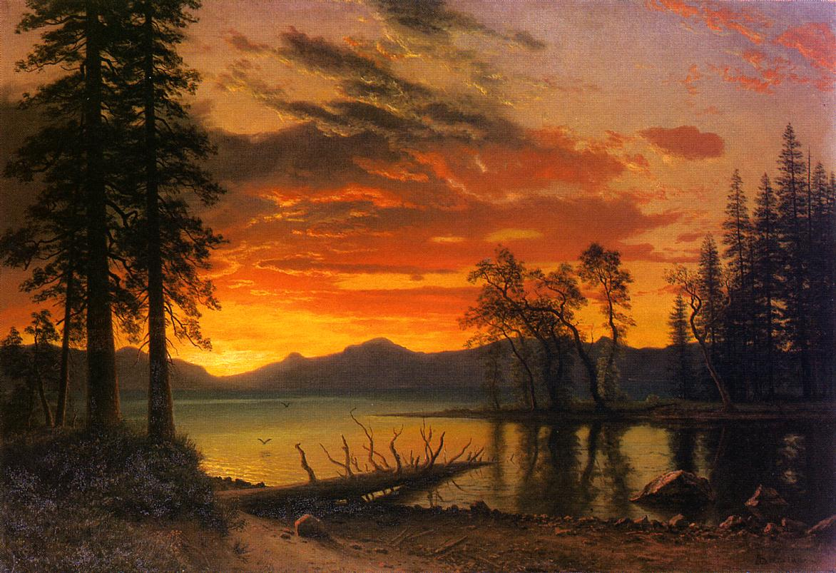 Sunset over the River | Albert Bierstadt | Oil Painting