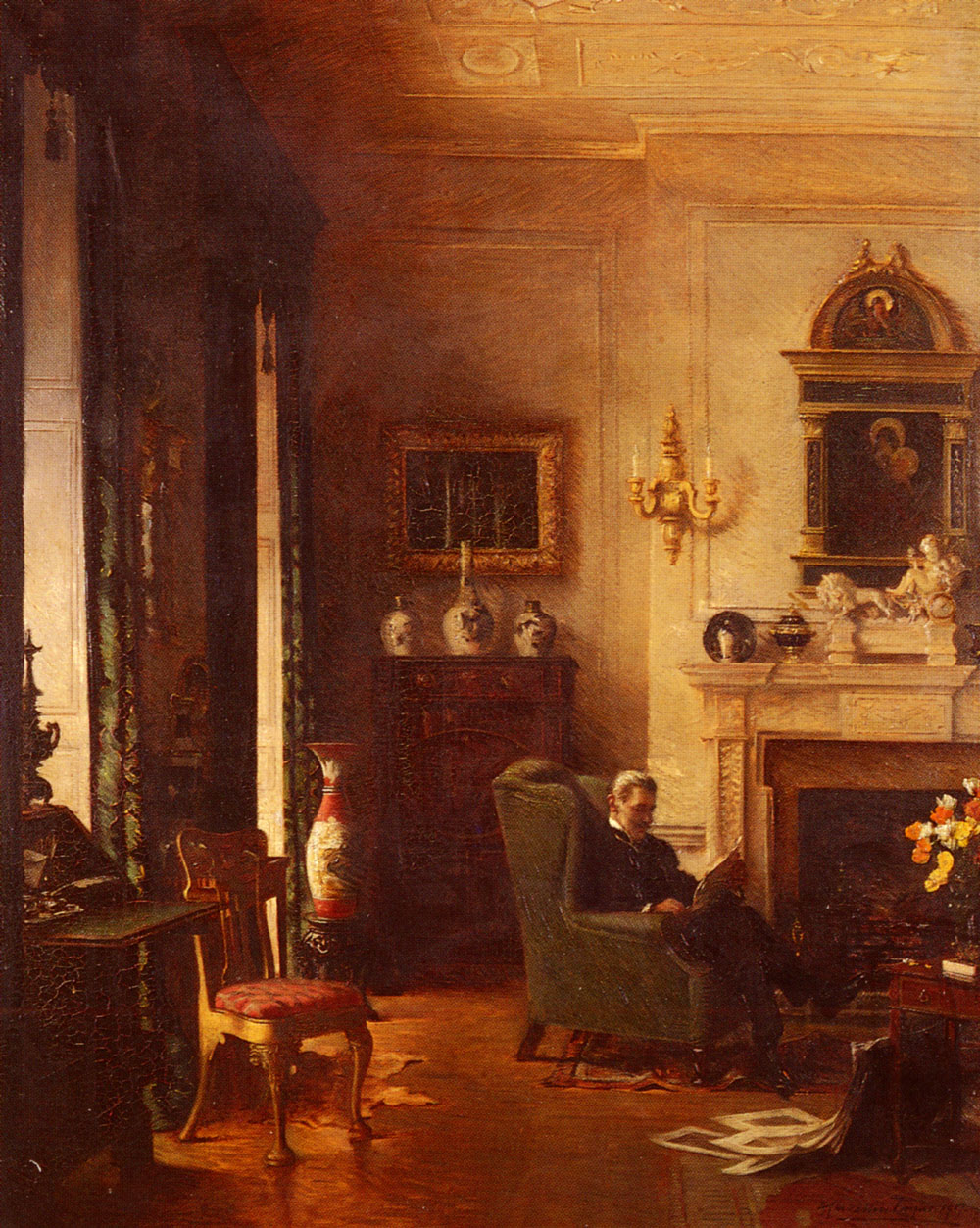The Grey Drawing-Room | Albert Chevallier Tayler | Oil Painting