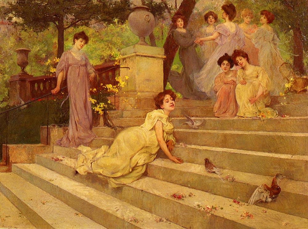 Girls On A Terrace | Albert Emile Artigue | Oil Painting