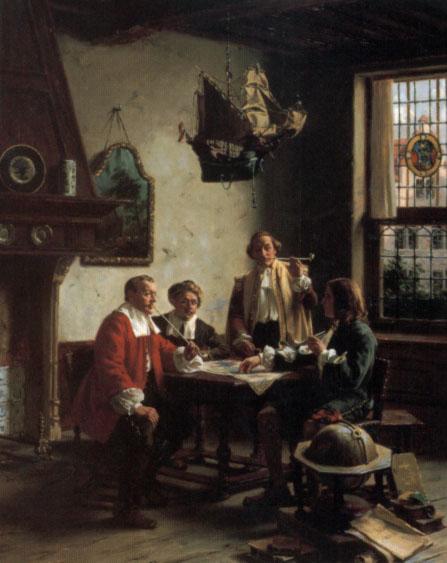 Die Backgammon-Spieler 2 | Albert Friedrich Schroder | Oil Painting