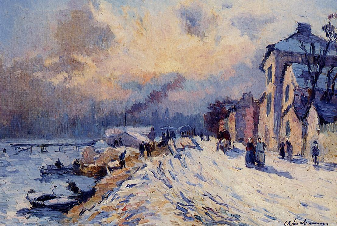 Near Rouen Snowy Weather | Albert Lebourg | Oil Painting