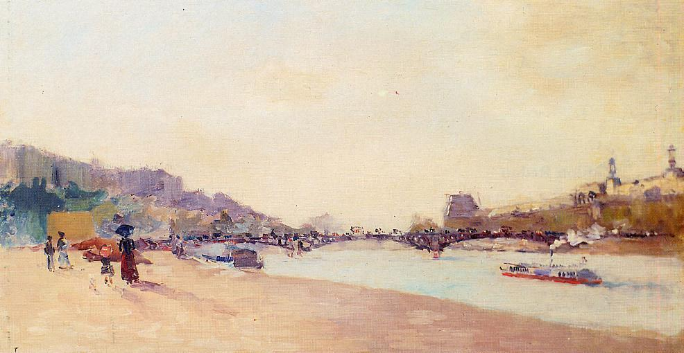 Paris the Seine and the Pont des Saint-Peres with the Louvre 1897 | Albert Lebourg | Oil Painting